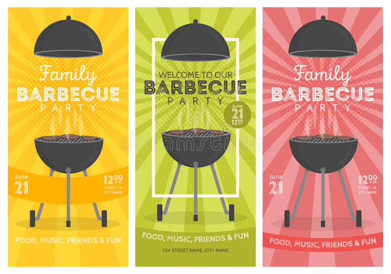 Uroczy grilla przyjęcia zaproszenia projekta szablonu set Modnego BBQ cookout plakatowy projekt royalty ilustracja