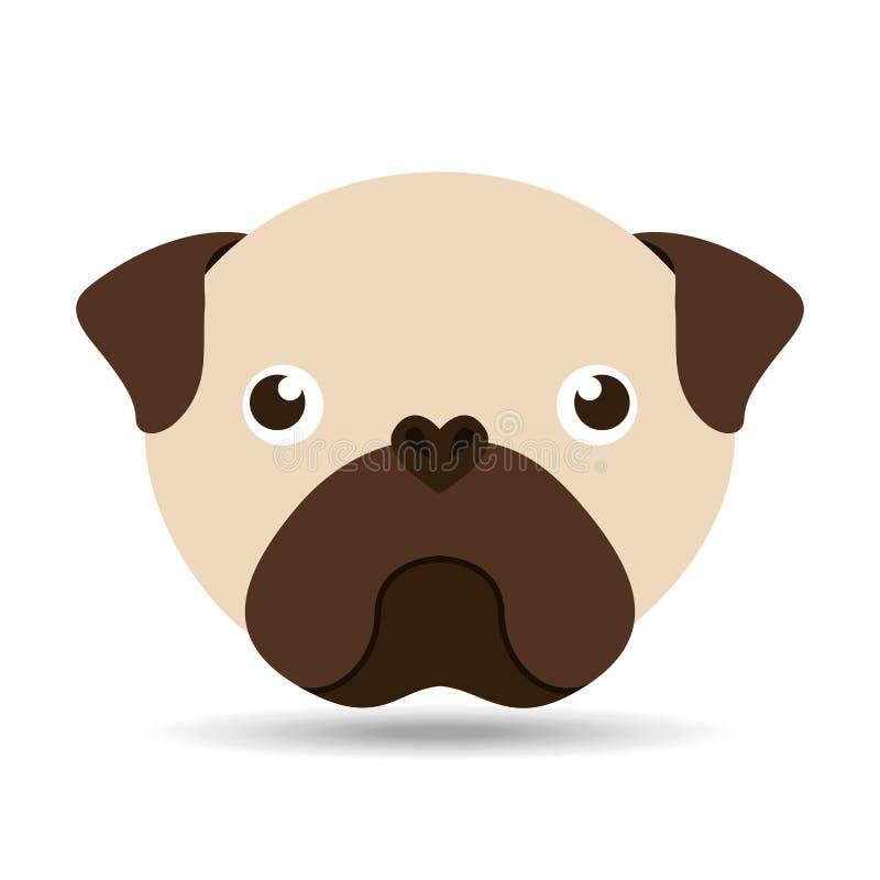 Uroczy kierowniczy szczeniaka mopsa pies ilustracja wektor