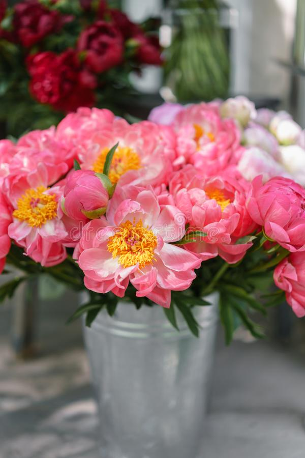 Uroczy kwiaty w szklanej wazie Piękny bukiet peonia koralowy urok poniekąd Kwiecisty skład, scena, światło dzienne wally zdjęcia stock