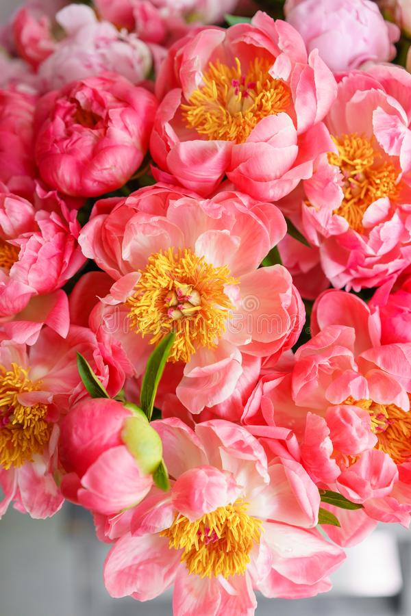 Uroczy kwiaty w szklanej wazie Piękny bukiet peonia koralowy urok poniekąd Kwiecisty skład, scena, światło dzienne wally Ve obraz royalty free