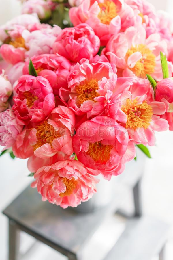 Uroczy kwiaty w szklanej wazie Piękny bukiet peonia koralowy urok poniekąd Kwiecisty skład, scena, światło dzienne wally Ve fotografia stock