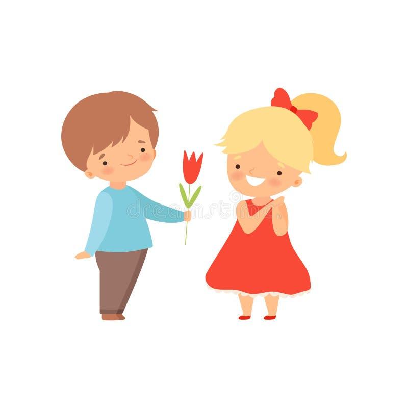 Uroczy Little Boy Daje Czerwonego Tulipanowego kwiatu Urocza blondynki dziewczyna w rewolucjonistki sukni kreskówki wektoru ilust ilustracja wektor