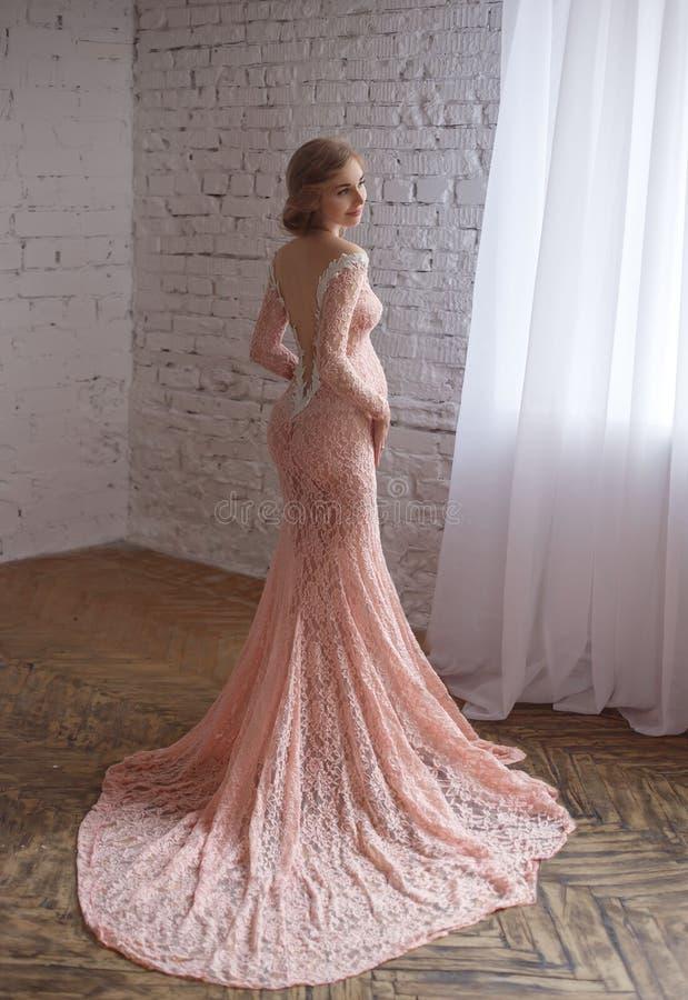 Uroczy młody kobieta w ciąży w pięknej sukni zdjęcie stock