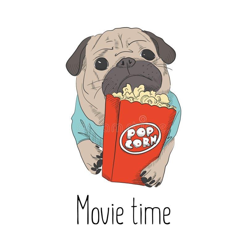 Uroczy mały szczeniak z wystrzał kukurudzy papierową torbą Śliczna mops ilustracja Mały psi relaksować na weekendzie w kinie Leis ilustracja wektor