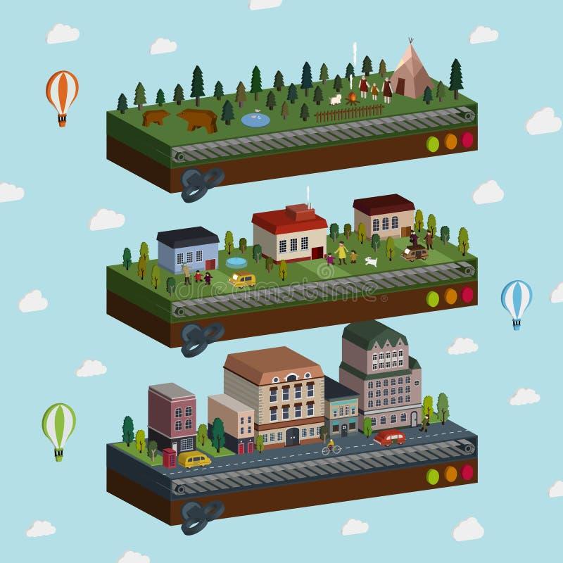 Uroczy miasto i obrzeże sceny 3d isometric infographic ilustracji