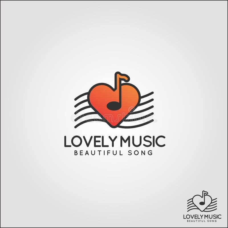 Uroczy Muzyczny logo - Łatwa słuchająca relaks muzyka ilustracja wektor