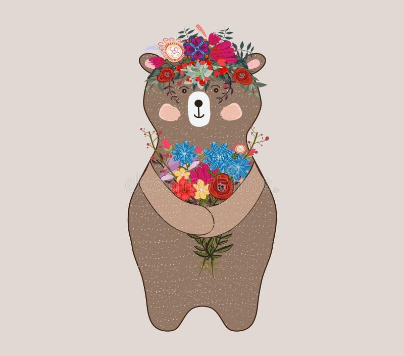 Uroczy niedźwiedź w kwiecistej technice Piękna karta z uroczym ślicznym małym niedźwiedziem royalty ilustracja