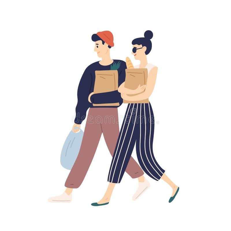 Uroczy nowożytny potomstwo pary przewożenie zdojest z zakupami Szczęśliwa śmieszna chłopiec i dziewczyna robi sklepu spożywczego  ilustracja wektor