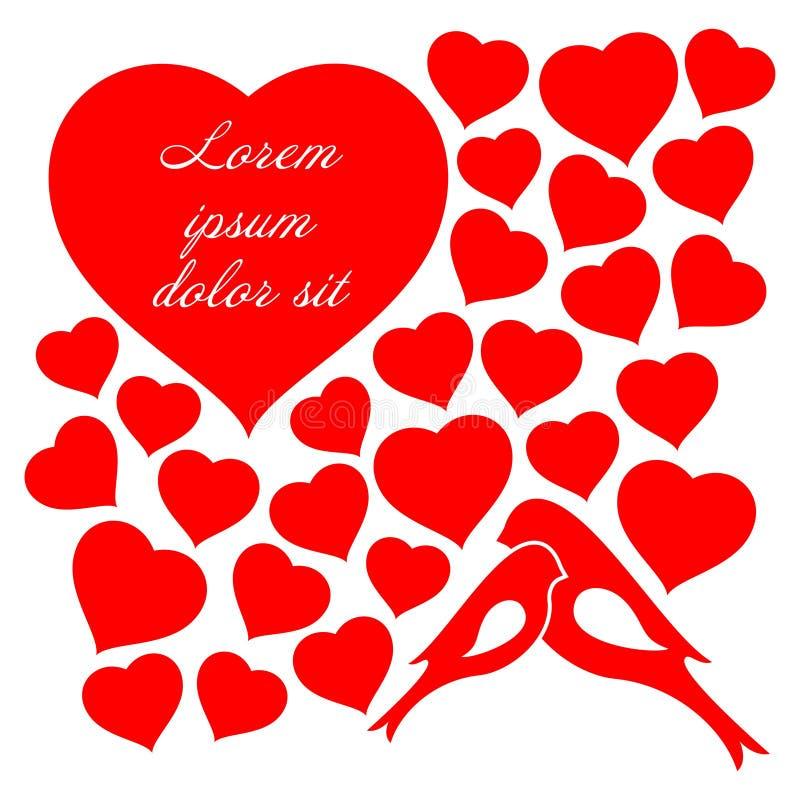 Uroczy pary miłości serc i ptaków czerwonego koloru tło royalty ilustracja