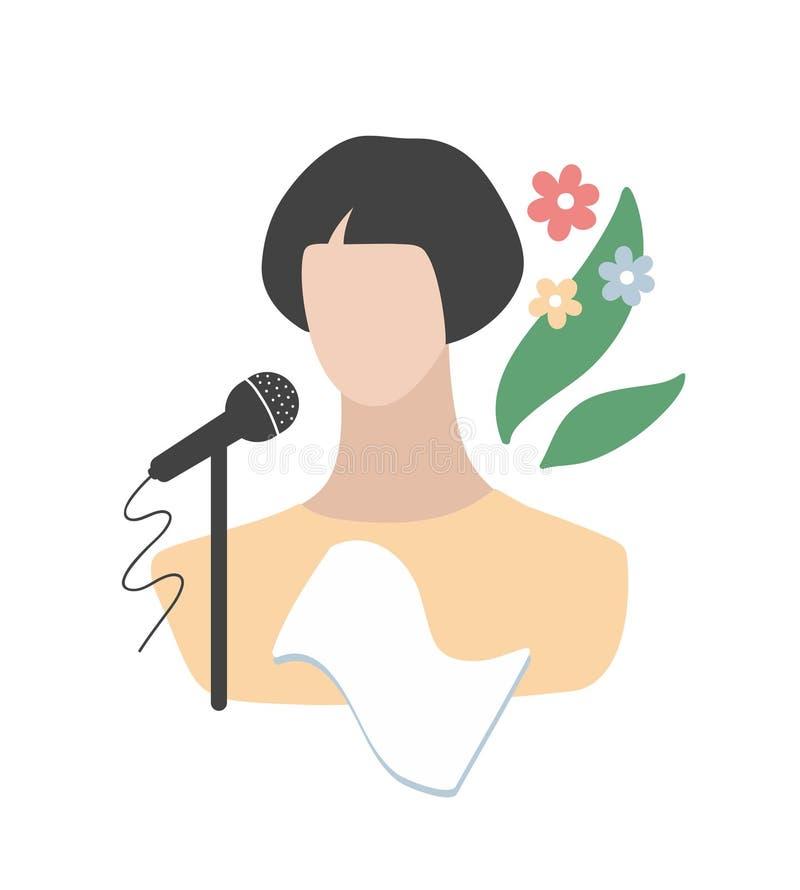 Uroczy piosenkarz z jej zajęciami protestuje - mikrofon i głos ilustracji