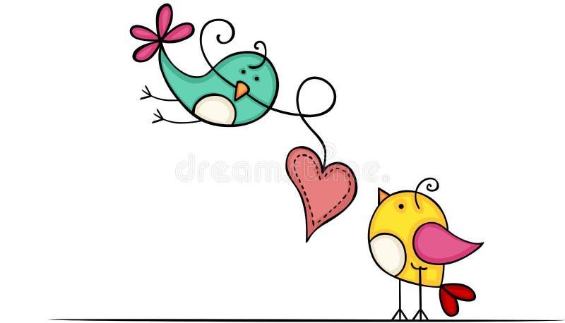 Uroczy ptaki z sercem ilustracji