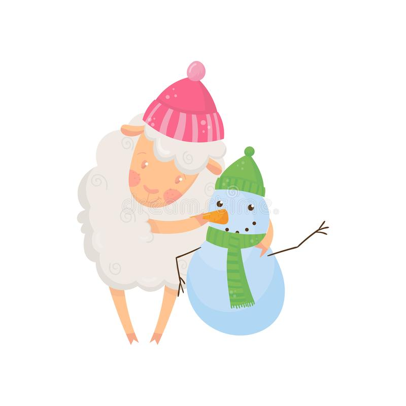 Uroczy puszysty barani trwanie pobliski mały bałwan Dwa postać z kreskówki w ciepłych zima kapeluszach, szaliku i Śliczny domowy ilustracji
