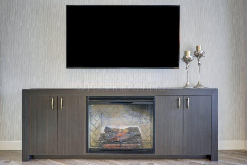 Uroczy rodzinny pokój z szczegółem TV i graba fotografia stock
