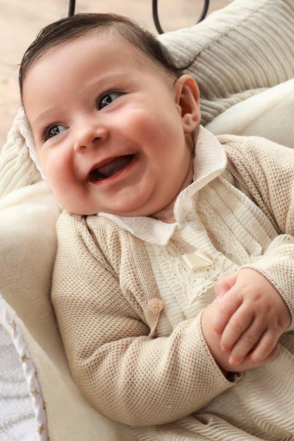 Uroczy Rozochocony dziecko cztery miesiąca fotografia royalty free