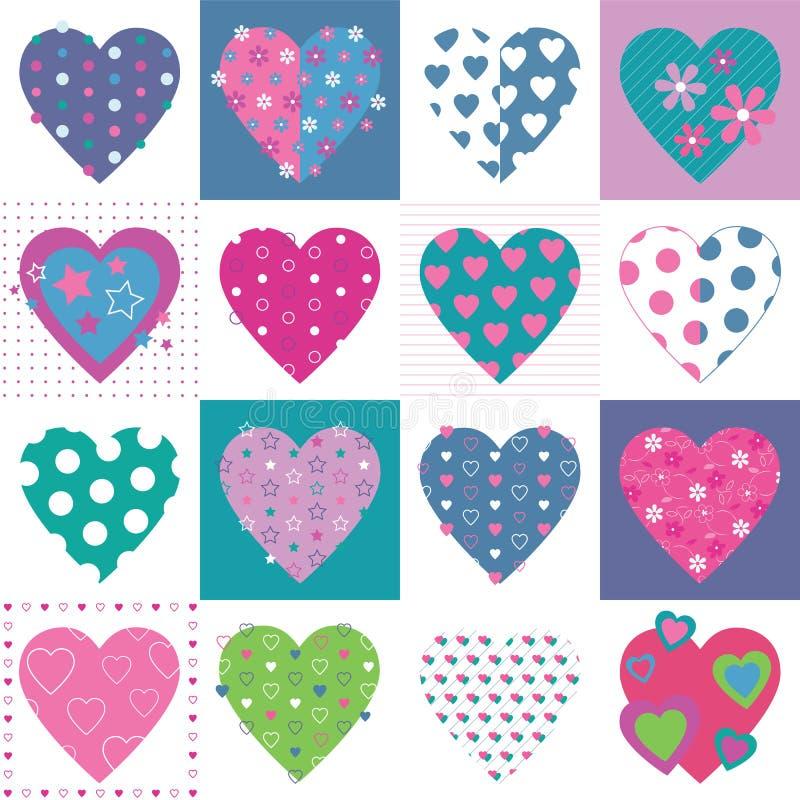 Uroczy serce kolekci wzór ilustracji