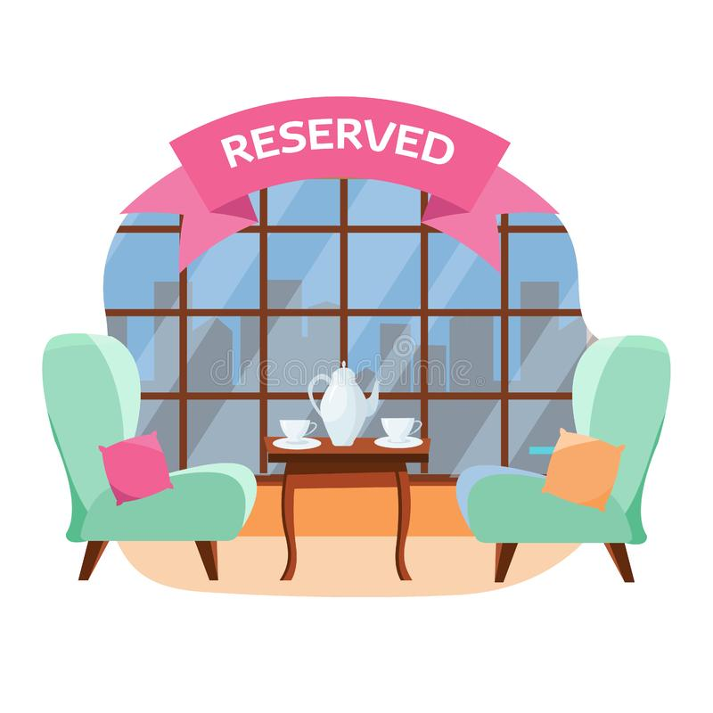 Uroczy stół w dla kawiarni dla dwa ludzi przegapia miasto blisko panoramicznego okno Ceramiczny teapot i fili?anki na stole ilustracji