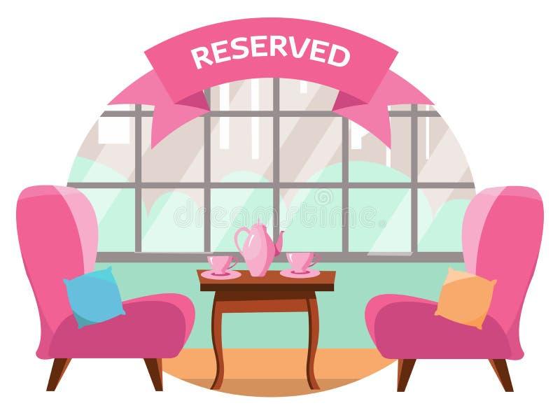Uroczy stół w kawiarni dla dwa ludzi przegapia miasto blisko panoramicznego okno Na stole tam są dwa różowego filiżanki i royalty ilustracja
