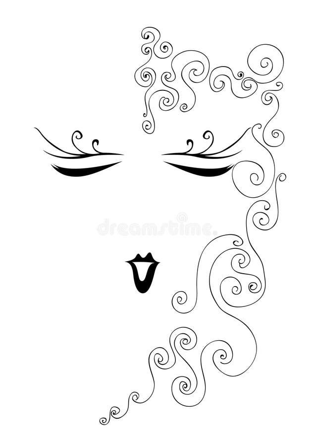 Download Uroczy twarz rocznik ilustracja wektor. Obraz złożonej z dekoracje - 24358655