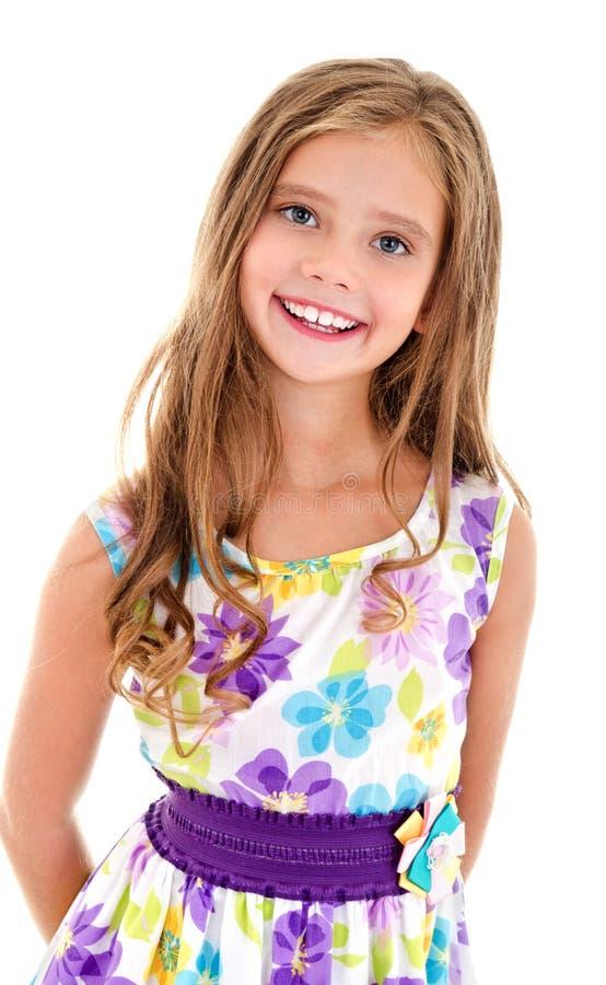 Uroczy uśmiechnięty małej dziewczynki dziecko w princess sukni odizolowywającej zdjęcie royalty free