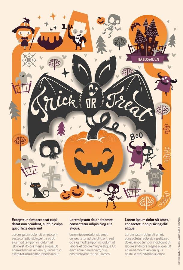 Uroczy wakacyjny Szczęśliwy Halloweenowy ulotka szablon z kreskówka nietoperzem, banią i miejscem dla teksta śmiesznym i straszny royalty ilustracja