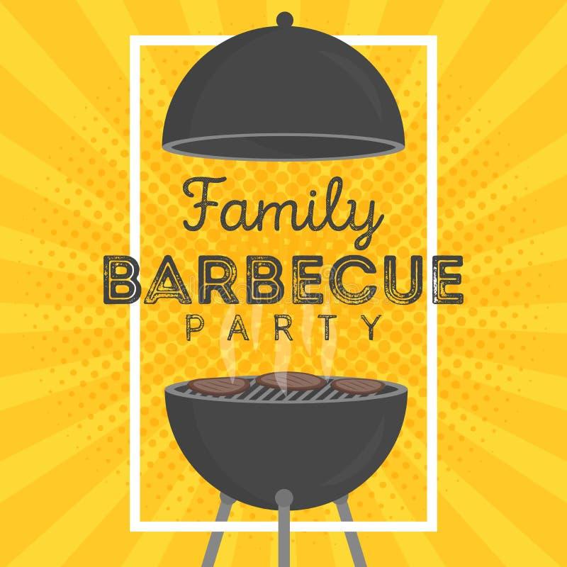 Uroczy wektorowy grilla przyjęcia zaproszenia projekta szablon Modnego BBQ cookout plakatowy projekt royalty ilustracja