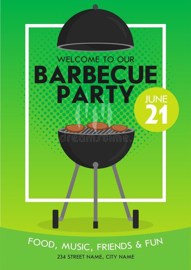Uroczy wektorowy grilla przyjęcia zaproszenia projekta szablonu set Modnego BBQ cookout plakatowy projekt royalty ilustracja