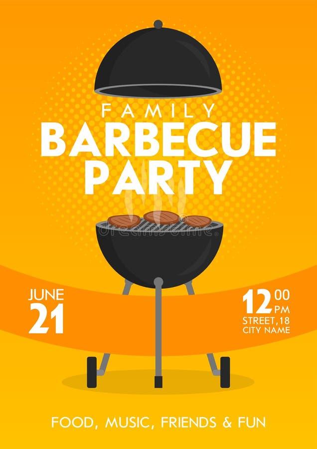 Uroczy wektorowy grilla przyjęcia zaproszenia projekta szablonu set Modnego BBQ cookout plakatowy projekt ilustracji