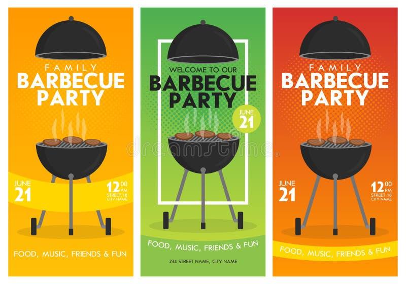 Uroczy wektorowy grilla przyjęcia zaproszenia projekta szablonu set Modnego BBQ cookout plakatowy projekt ilustracja wektor