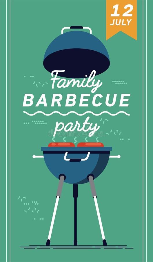 Uroczy wektorowy ulotki lub plakata szablon na grilla przyjęciu Grilla cookout wydarzenie ilustracji