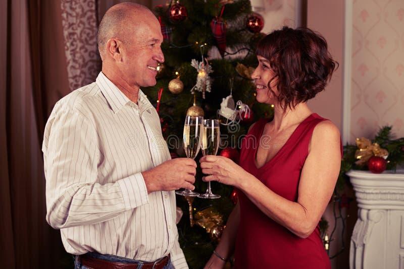 Uroczy współmałżonkowie stoi blisko nowego roku drzewa z szampanem zdjęcie stock
