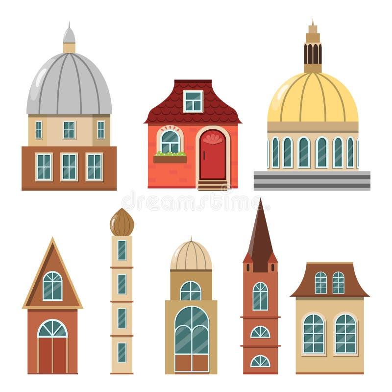 Uroczy wygodni domy dla bajki miasteczka royalty ilustracja