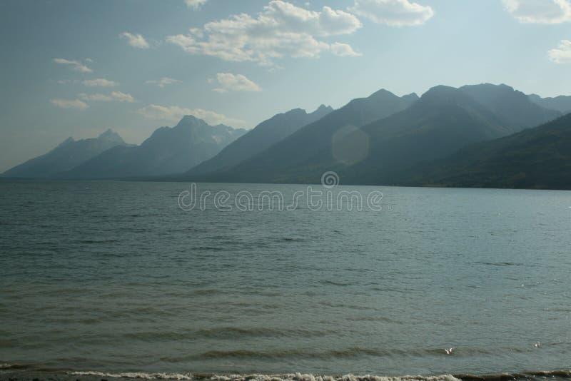 Uroczyste Teton góry przy jezioro krawędzią fotografia royalty free