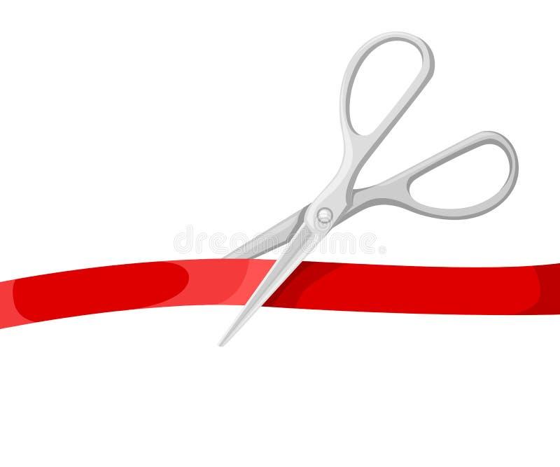Uroczystego otwarcia osobistości ilustracyjne z srebnymi nożycami i czerwonym faborkiem na białym tle royalty ilustracja