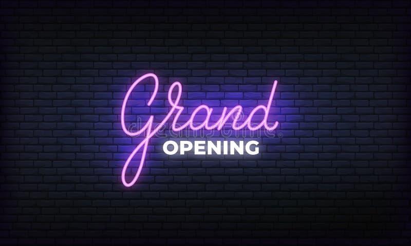 Uroczystego otwarcia sztandaru wektoru neonowy szablon Rozjarzonej nocy literowania jaskrawy znak dla otwarcia wydarzenia świętow ilustracja wektor
