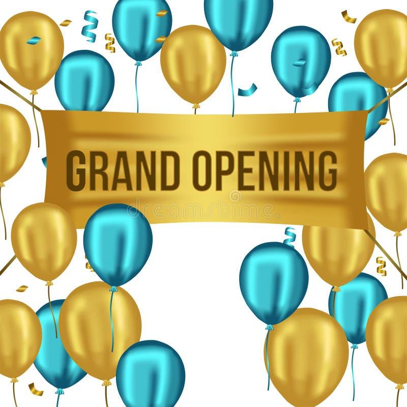 Uroczystego otwarcia złoty faborek z złotym i błękitnym balonowym luksusu przyjęcia świętowaniem royalty ilustracja