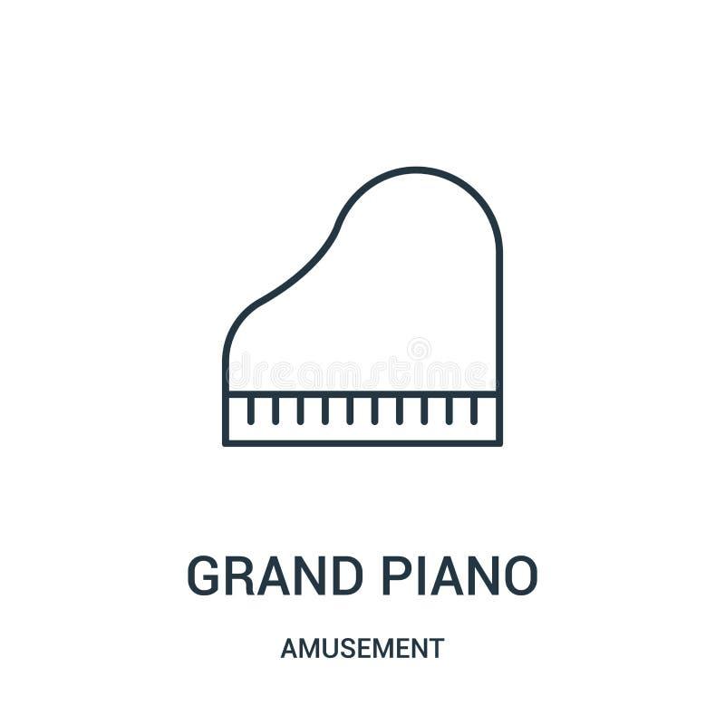 uroczystego pianina ikony wektor od rozrywkowej kolekcji Cienka kreskowa uroczystego pianina konturu ikony wektoru ilustracja royalty ilustracja