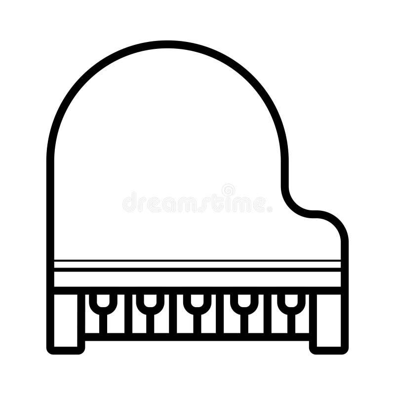Uroczystego pianina wektoru linii ikona odizolowywająca na białym tle wnuk ilustracji