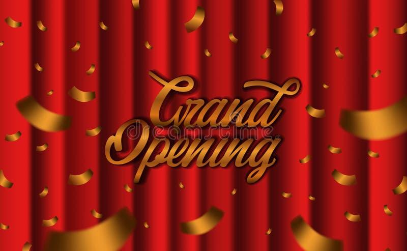 Uroczysty ceremonii otwarciej przyjęcia szablon z złotymi confetti i czerwieni jedwabniczą luksusową zasłoną ilustracja wektor