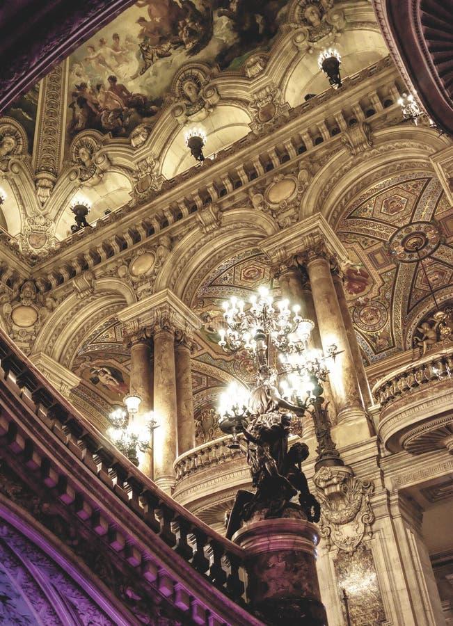 Uroczysty foyer w operze Garnier w Paryż obraz stock