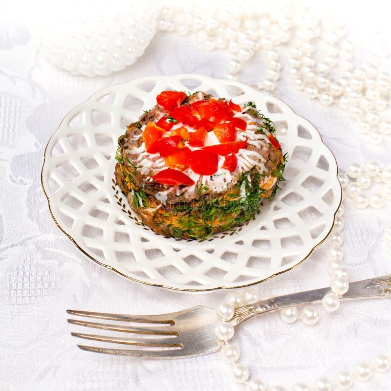 Uroczysty mini tarta - sałatka obraz royalty free