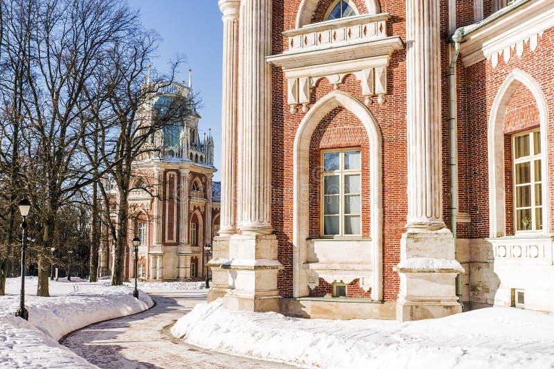 Uroczysty pałac muzeum Tsaritsyno moscow Rosji obraz royalty free