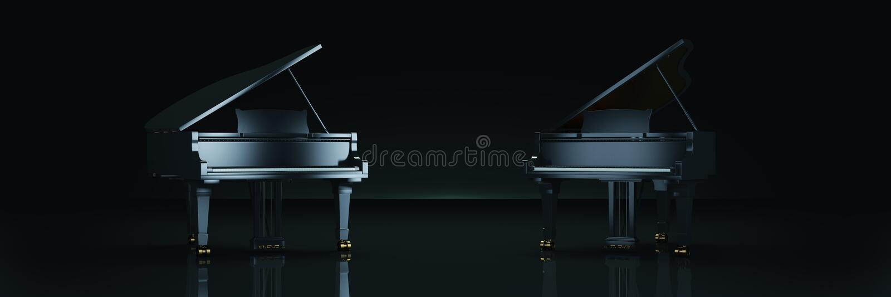 Uroczysty pianino w ciemnym tle royalty ilustracja