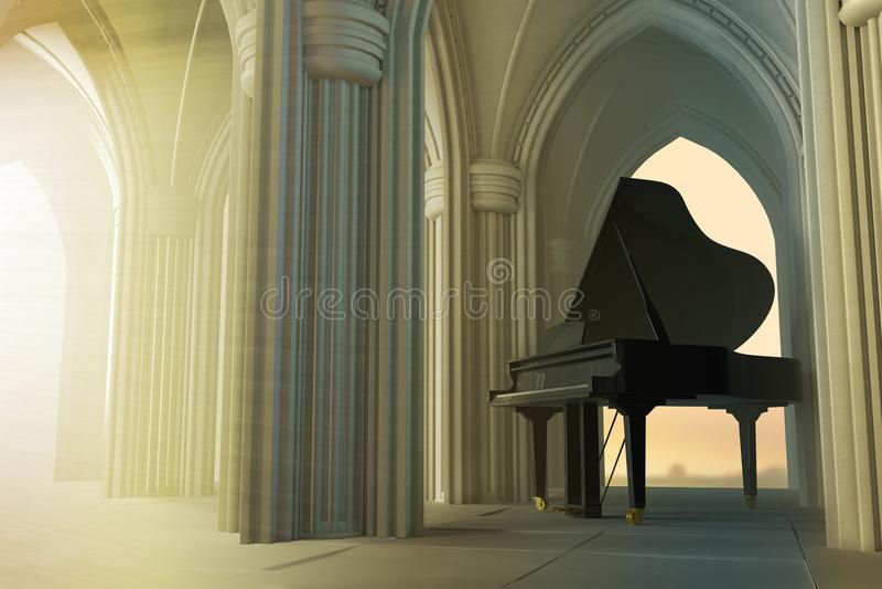 Uroczysty pianino w gothic kościół ilustracja wektor
