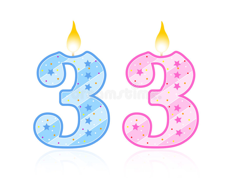 urodzin 3 candle royalty ilustracja