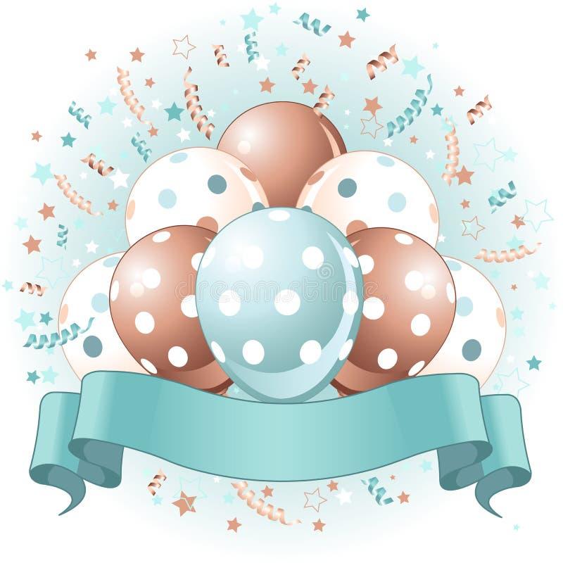 Błękitny urodzin balonów projekt royalty ilustracja