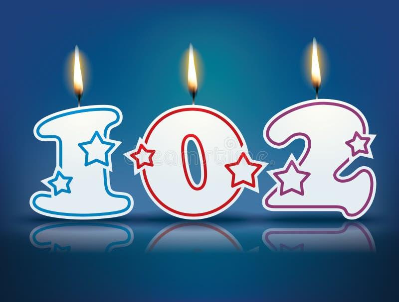 Urodzinowa świeczka liczba 102 royalty ilustracja