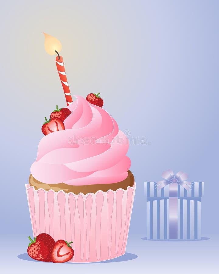 Urodzinowa babeczka ilustracji