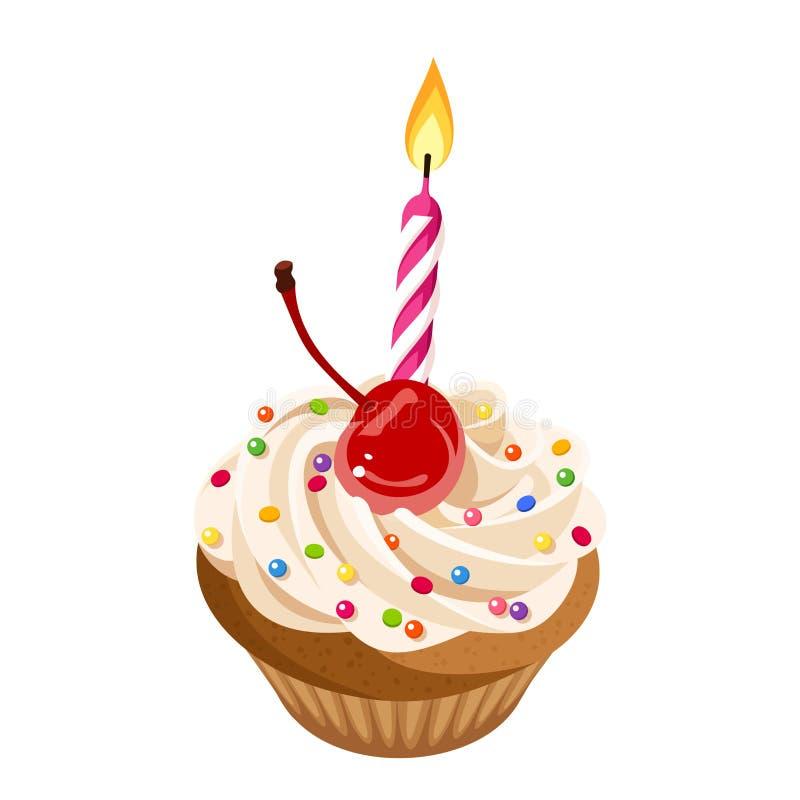 Urodzinowa babeczka z śmietanką, wiśnia, kropi i świeczka również zwrócić corel ilustracji wektora royalty ilustracja