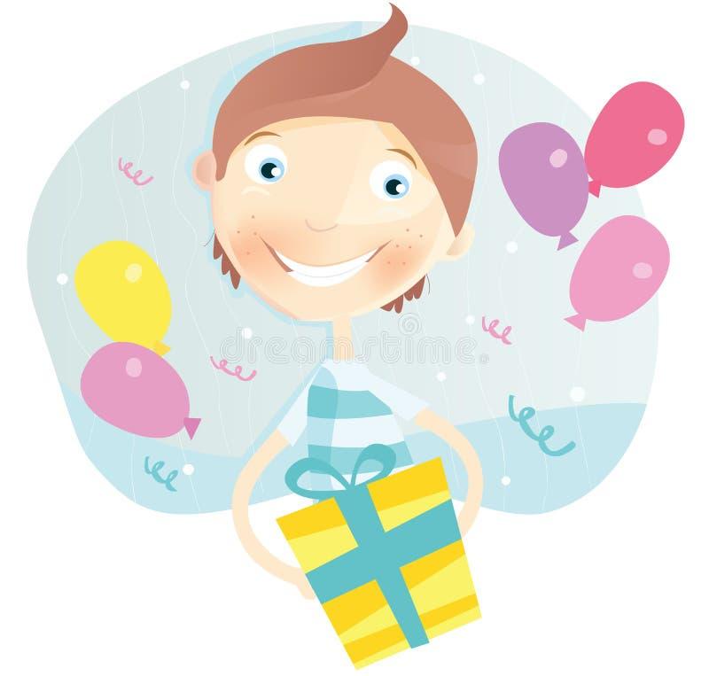 urodzinowa chłopiec szczęśliwa ilustracji