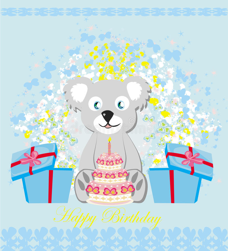 Urodzinowa karta, słodki miś trzyma urodzinowego tort ilustracji